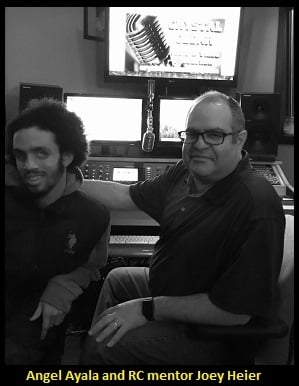 Recording Connection student Angel Ayala and Joey Heier