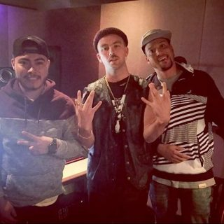 Recording Connection student Luis Garcia in studio with artist Son Real and mentor producer Rahki in 2016